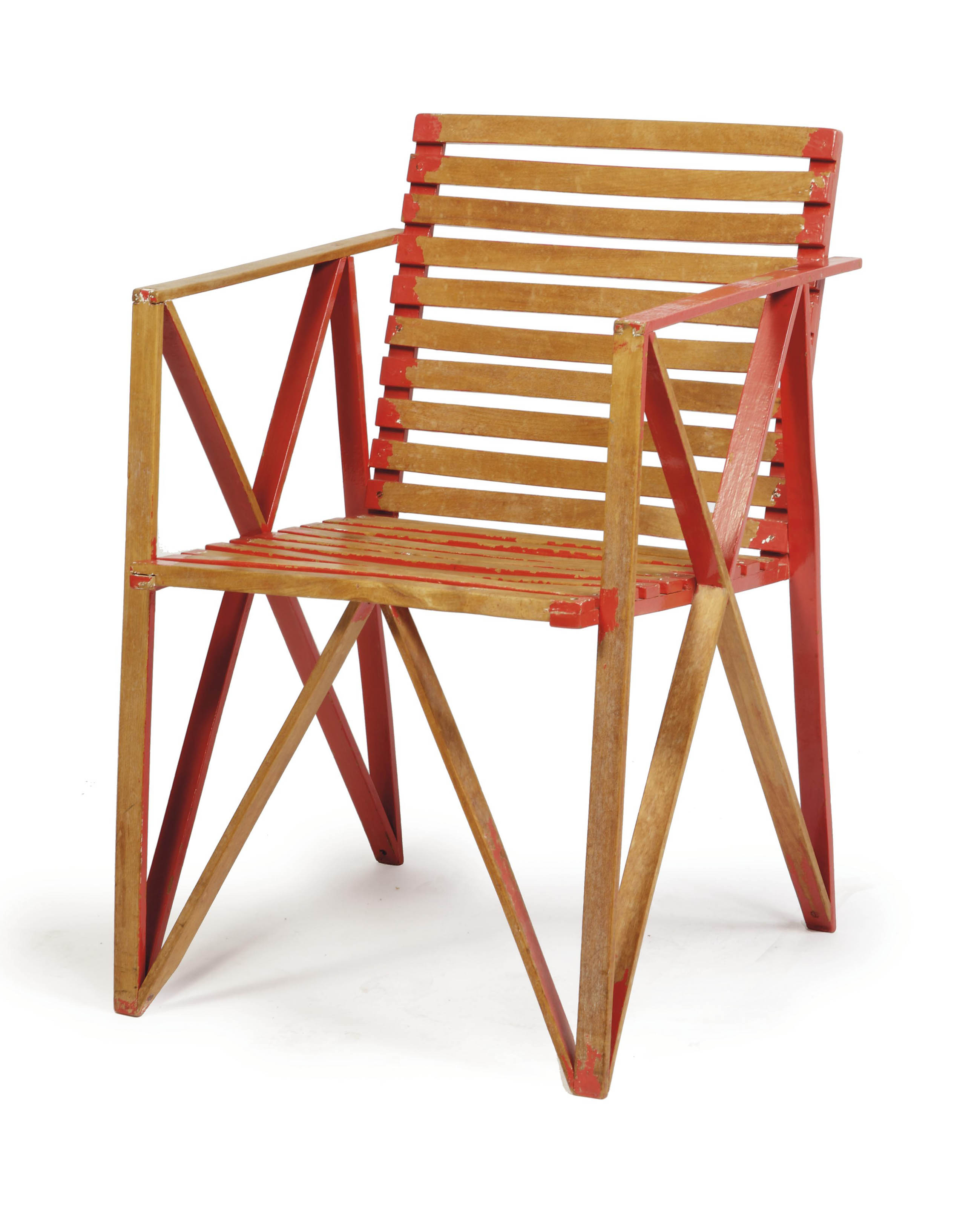 A DUTCH BEECHWOOD AND RED PAINTED ARMCHAIR