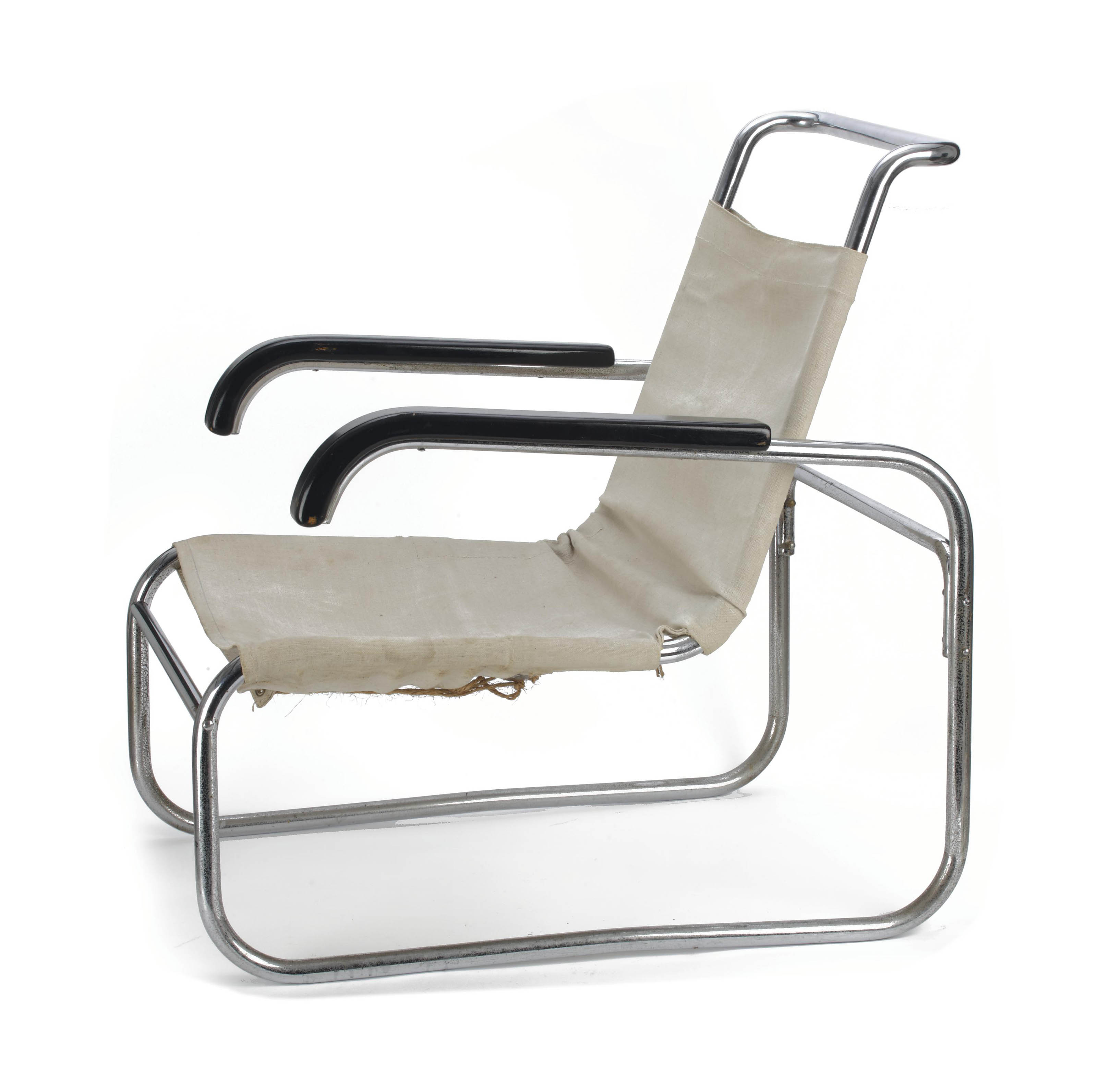 A chromed steel tubular and painted wood 'B35' lounge chair