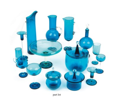 A Finnish blue and clear glass