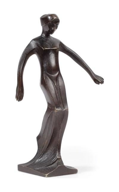 A bronze figure of a female nu