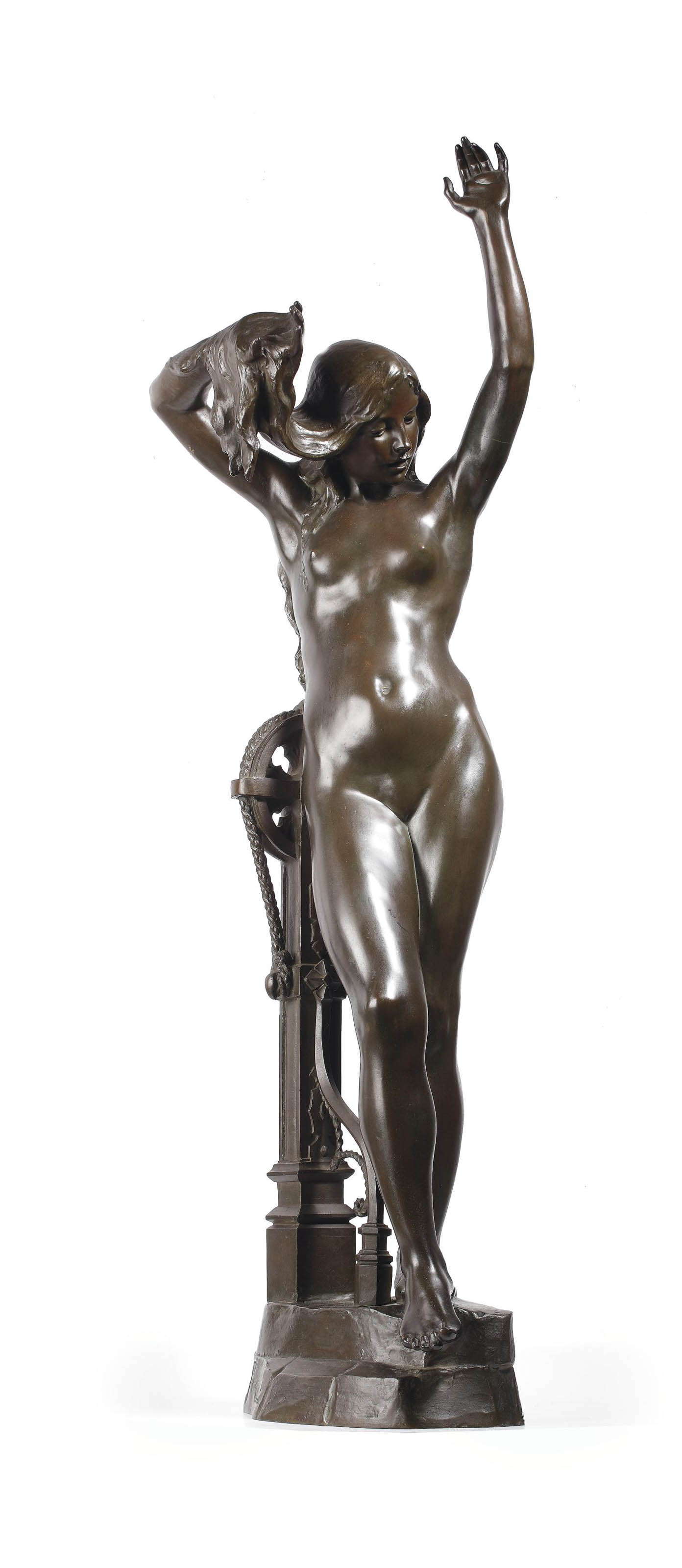 Ams Nude a bronze of a nude female figure standing near a well | from