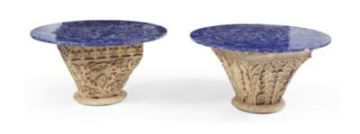 Two lapis lazuli circular tabl