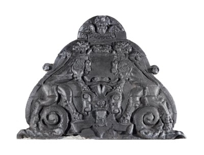A French cast-iron hearth plat