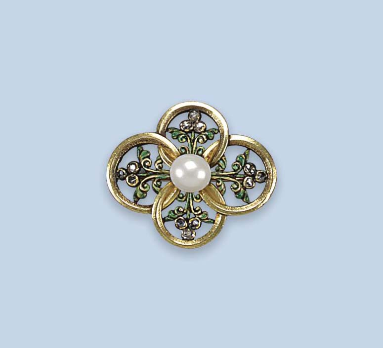 AN ANTIQUE ENAMEL AND GEM SET BROOCH, BY WIESE