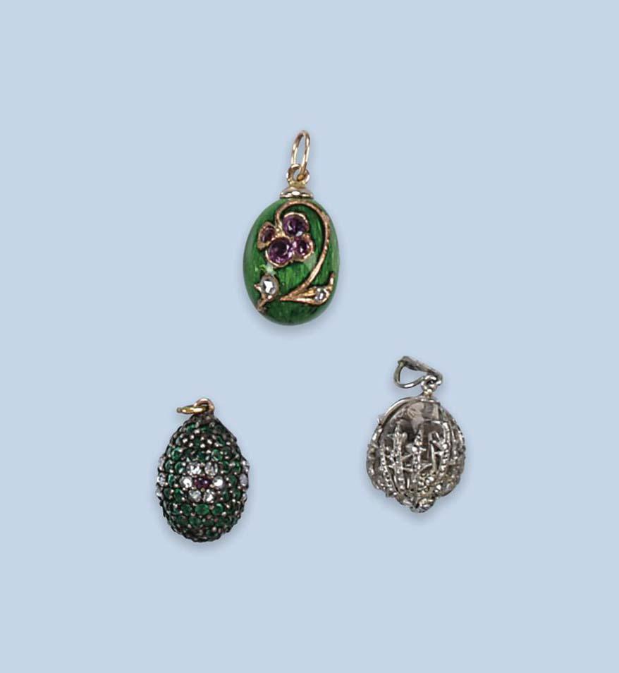 Three russian egg pendants victorian traditional jewelry lot 29 aloadofball Choice Image
