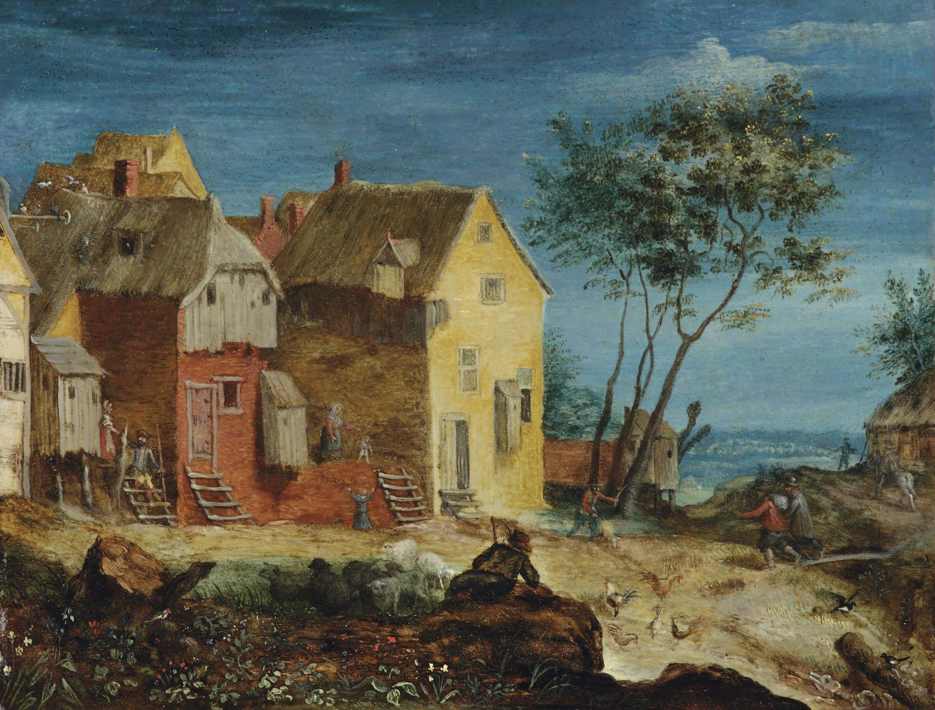 Figures in a village, a landscape beyond