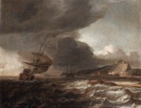 Ships in stormy waters off a coast