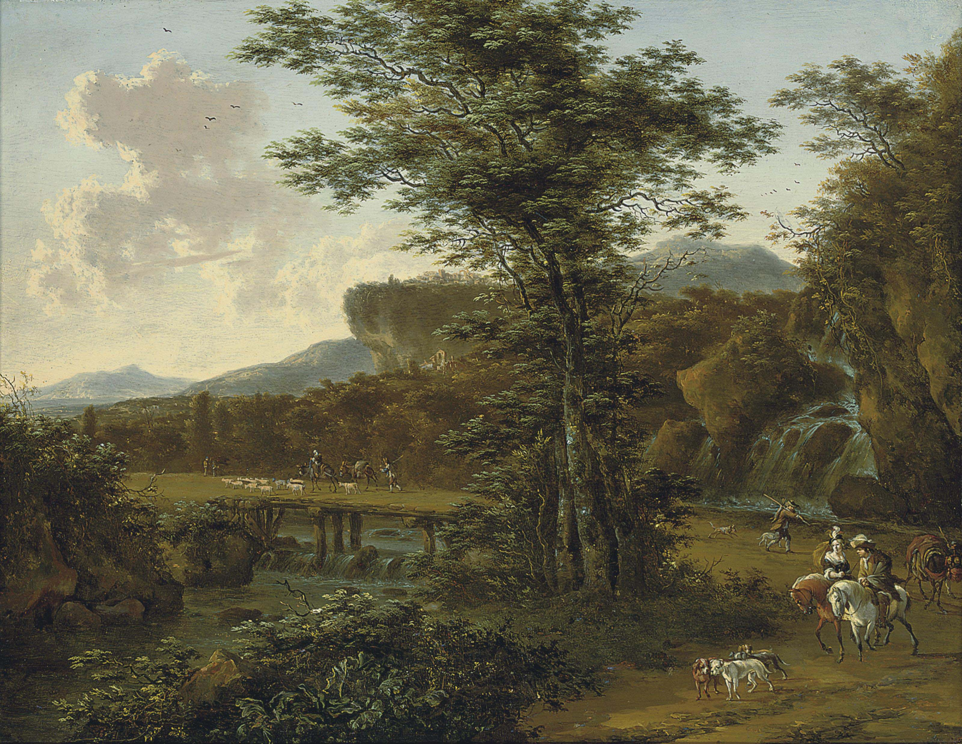 A river landscape with travellers on a track near a waterfall