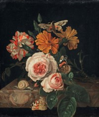 Pink peony roses, a carnation and daisies with a dragonfly, two butterflies, a moth and a snail, all on a marble ledge