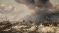 Dutch and English ships in choppy waters
