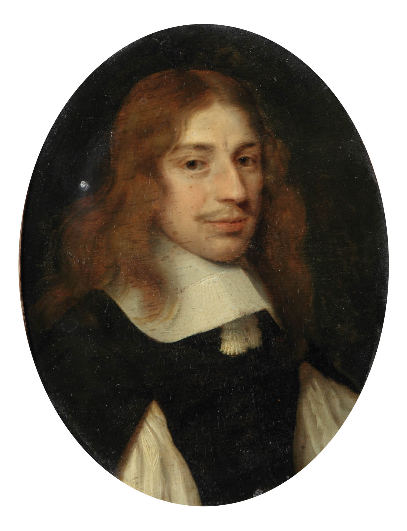 Portrait of a gentleman, bust-length, in a black costume with a white collar