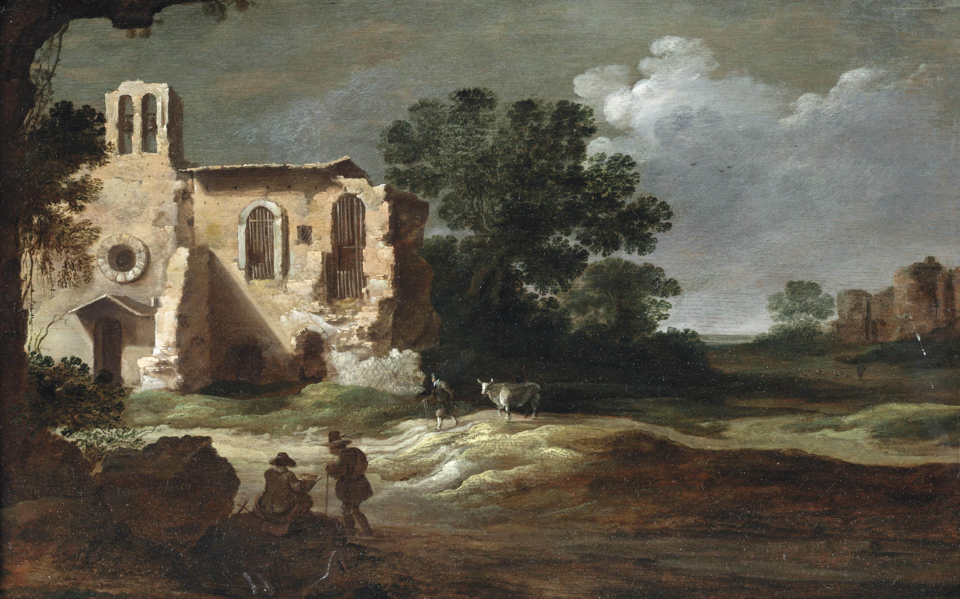 An Italianate landscape with figures by classical ruins
