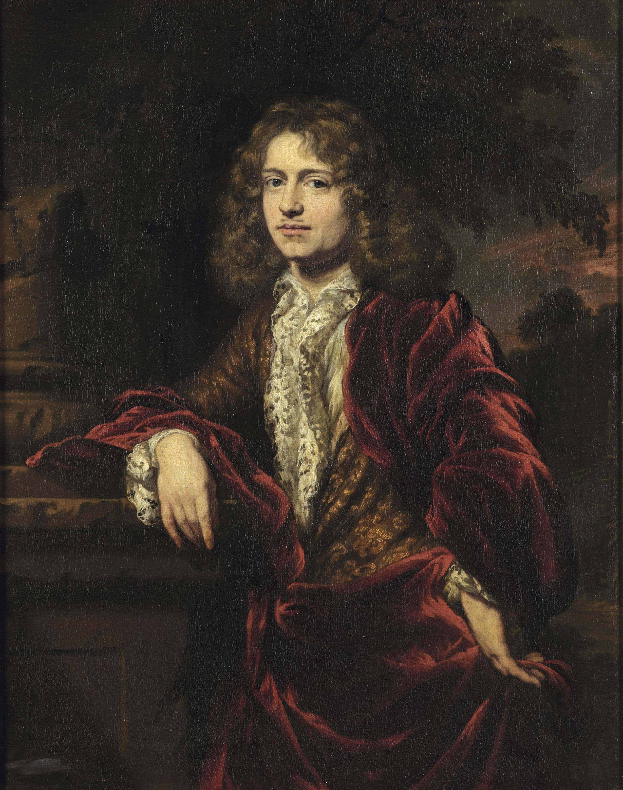 Portrait of a gentleman, three-quarter-length, in a white lace trimmed chemise and a red cloak over a gold brocate jacket, standing by a classical column in a park landscape
