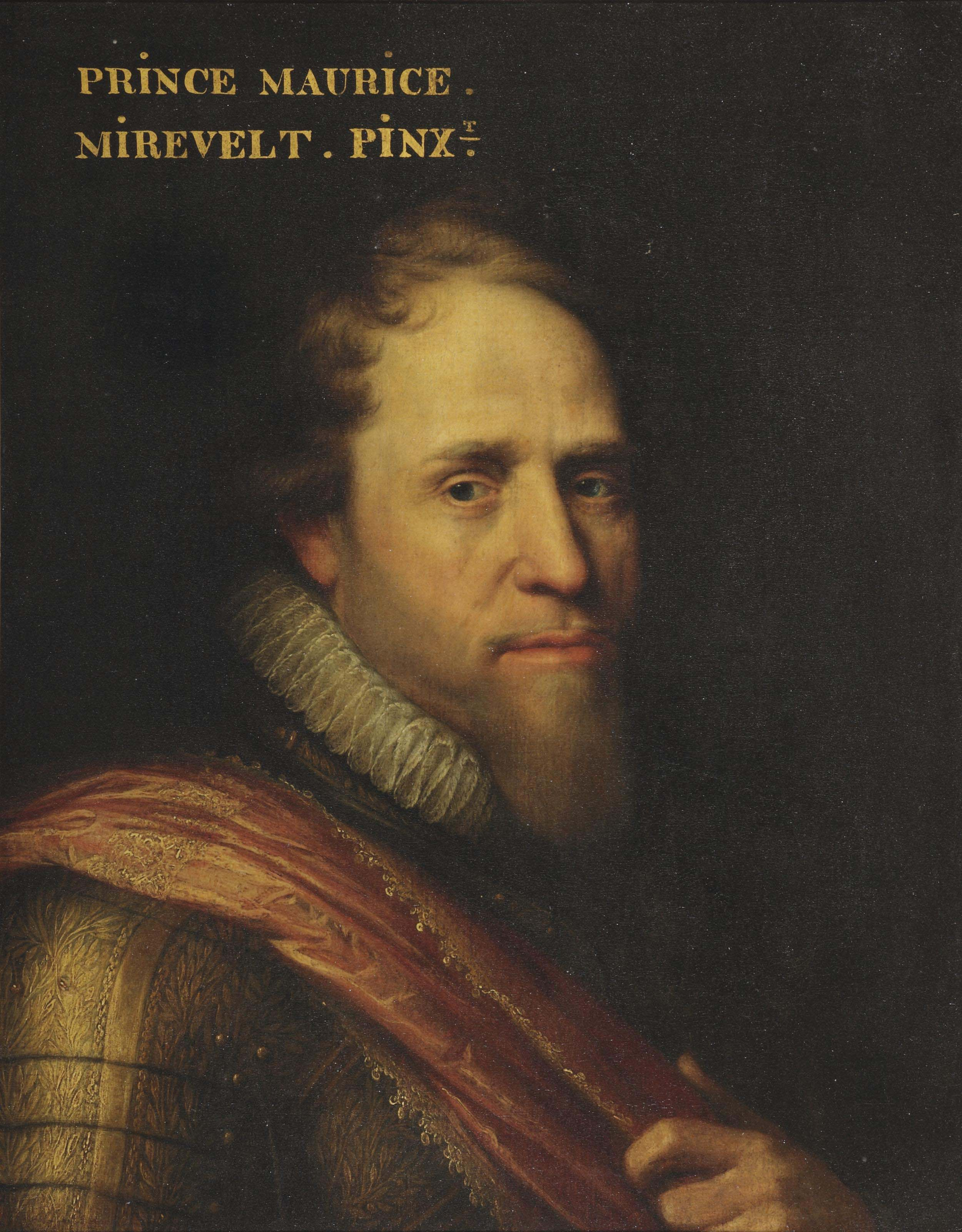 Portrait of Maurice of Nassau, Prince of Orange (1567-1625), bust- length, in a gilded wheatsheaf armour and an orange sash
