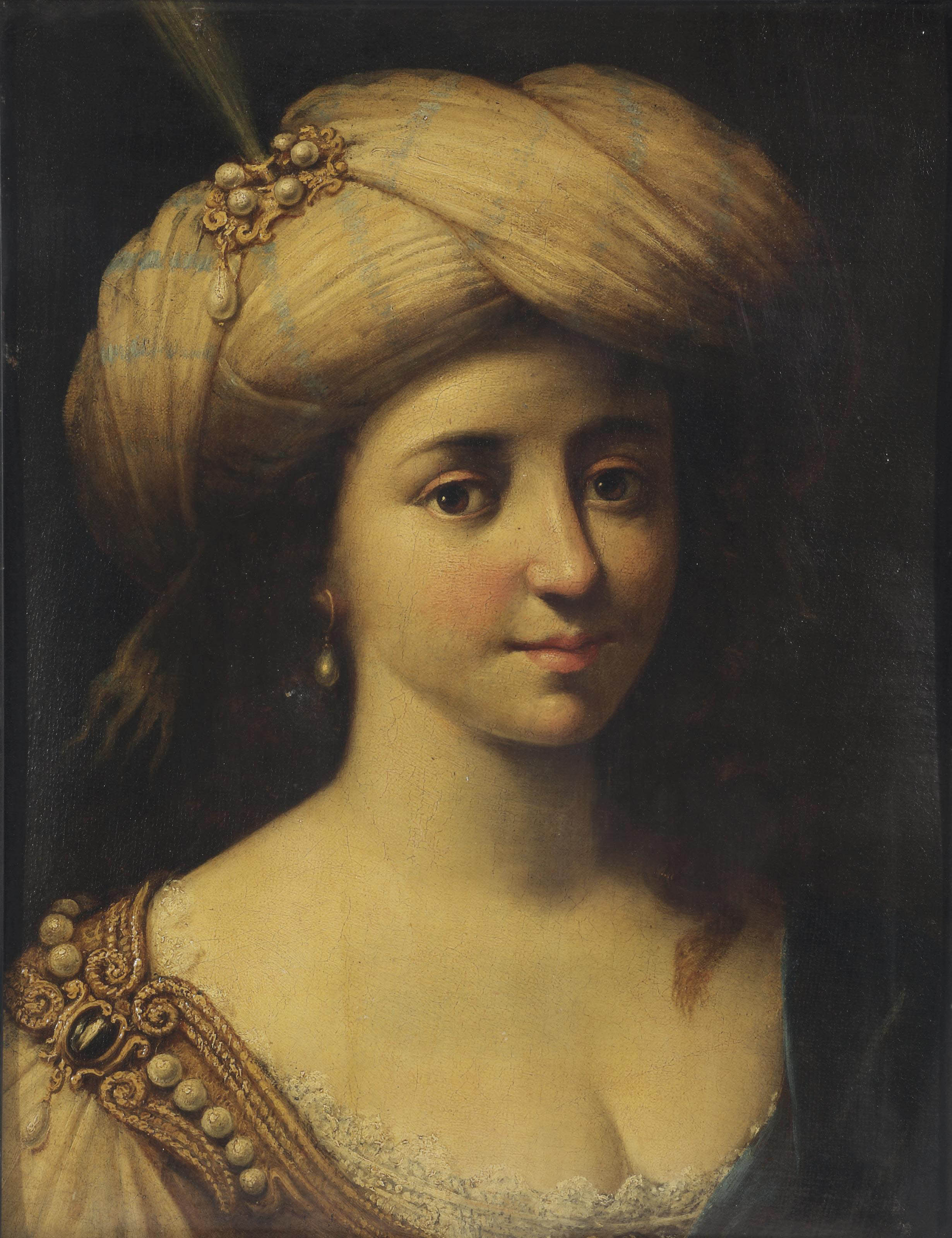 Head of a woman wearing a turban