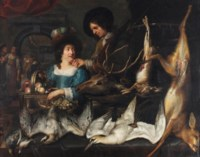 A man and a woman with the day's hunt, the head of a red deer, a hare, a roe deer, a hawk, a Northern Gannet and fruits displayed on a table before them, servants in the back of the kitchen