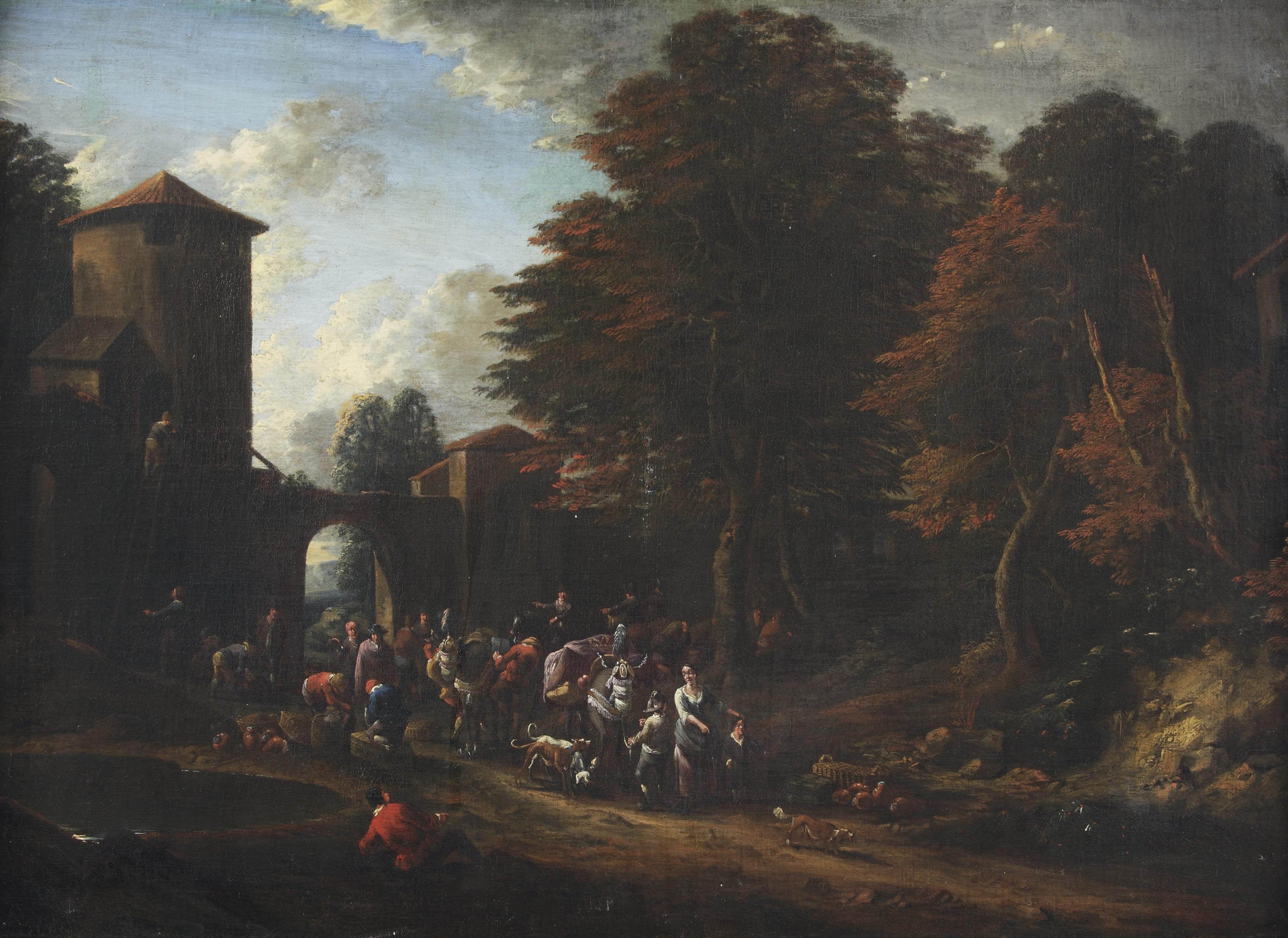 A wooded landscape with merchants near a village gate