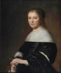 Portrait of a lady, half-length, in a black dress with a white lace collar and pearl jewelry, holding a pink rose