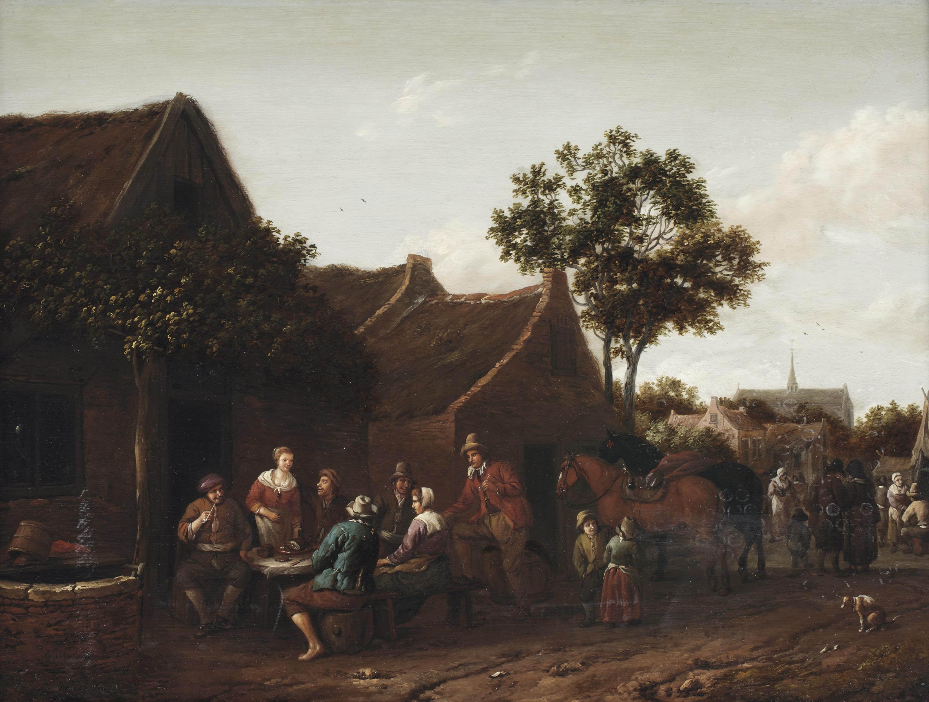 Peasants making merry outside an inn