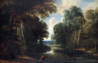 A wooded river landscape with a hunter on a path