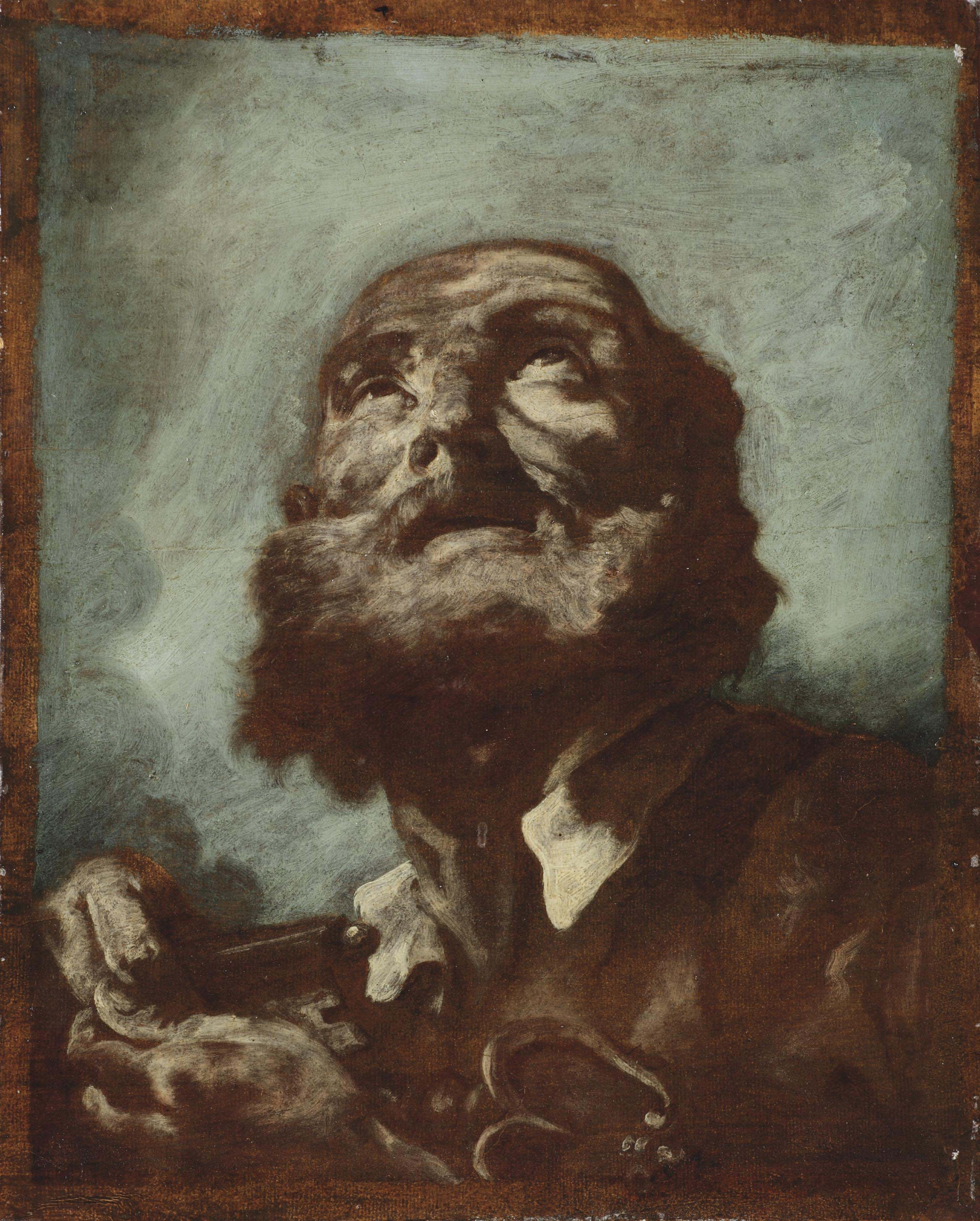 An oil sketch of Saint Peter