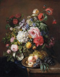 Roses, poppies, peonies, tulips and syringa with a caterpillar and a moth in a vase with classical reliefs, peaches and grapes on a copper ewer and grapes and a seashell on a partially draped marble ledge