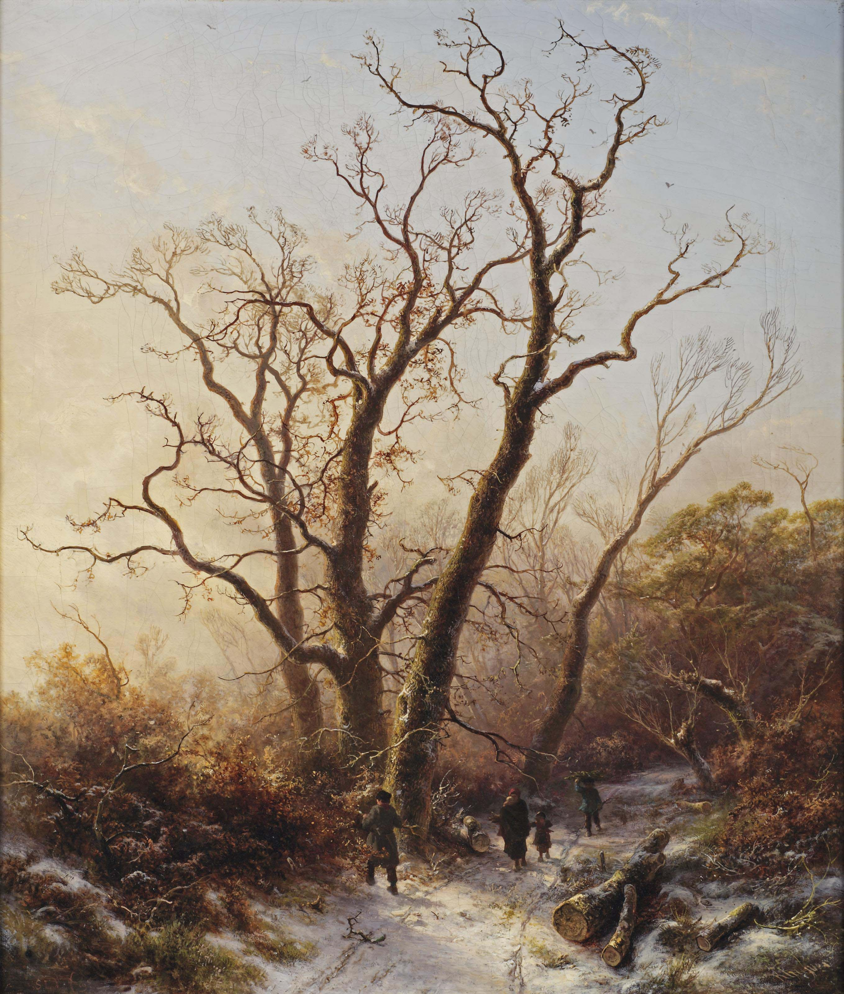 Gathering wood on a cold wintersday