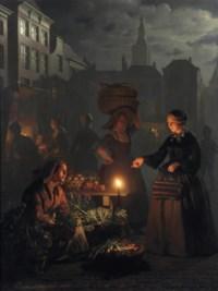 A moonlit vegetable market on De grote markt, The Hague