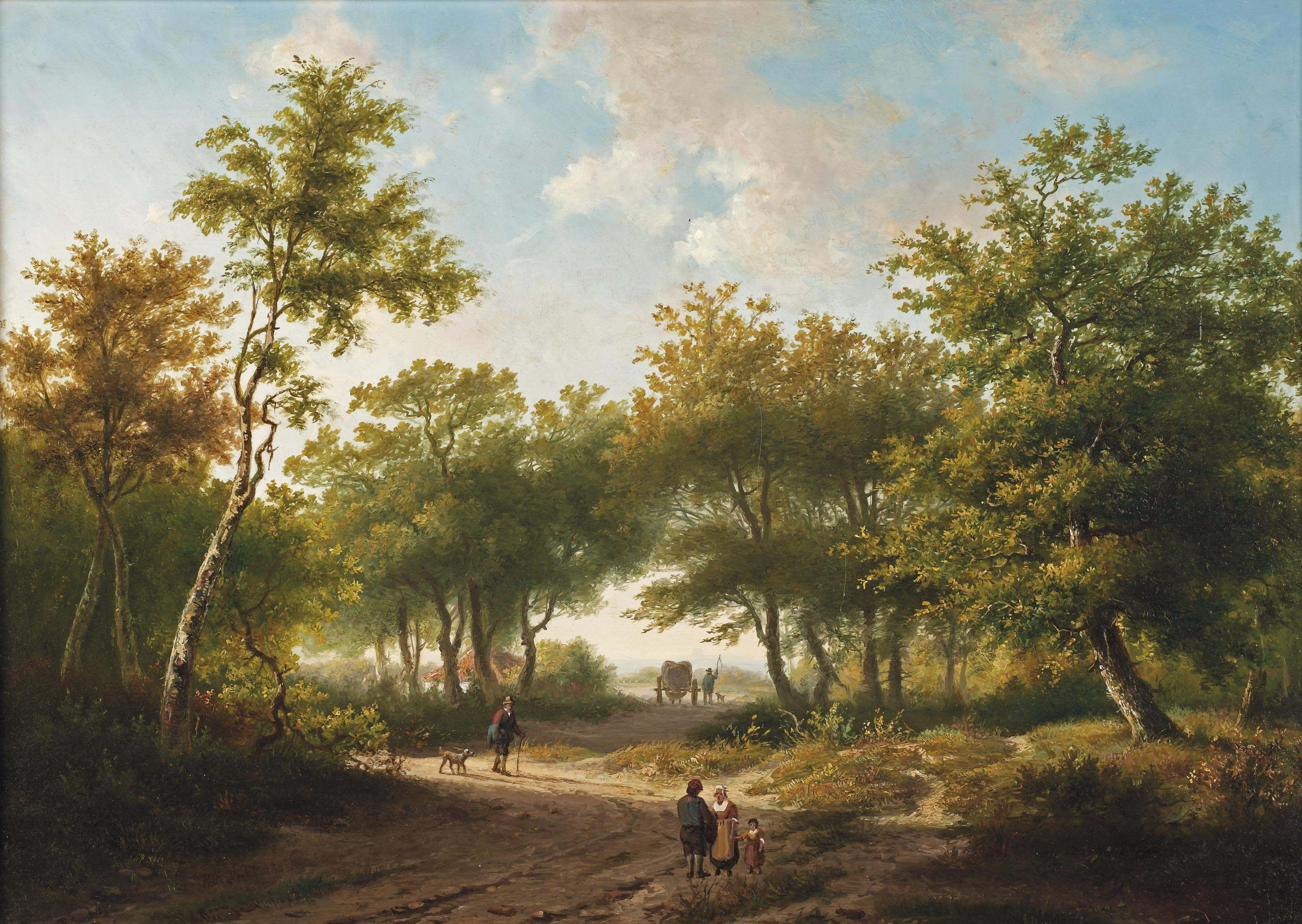 Travelers in a forest during a sunny day