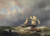 A schooner in a choppy sea