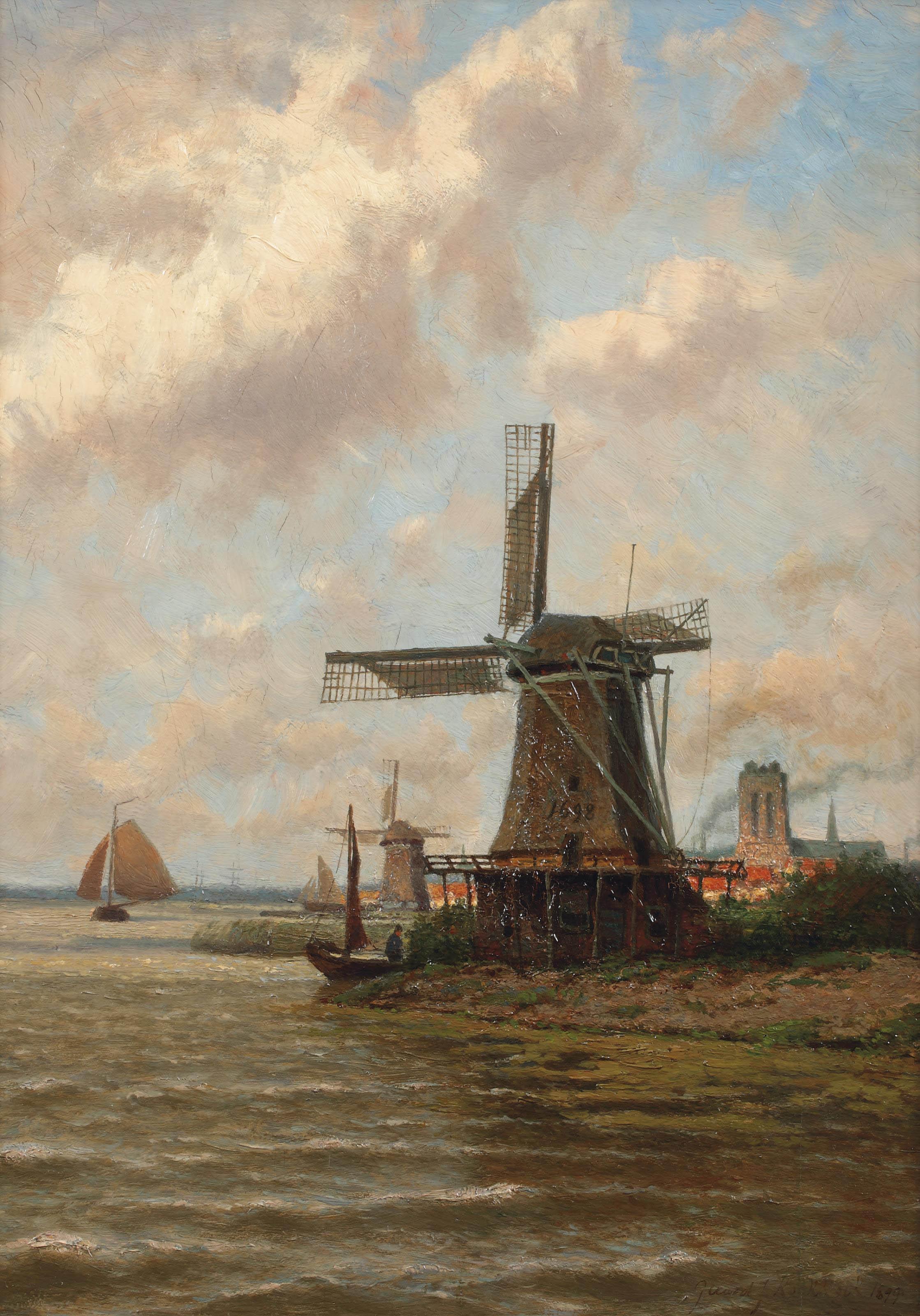 A view of Dordrecht with windmill 'De Eendragt'