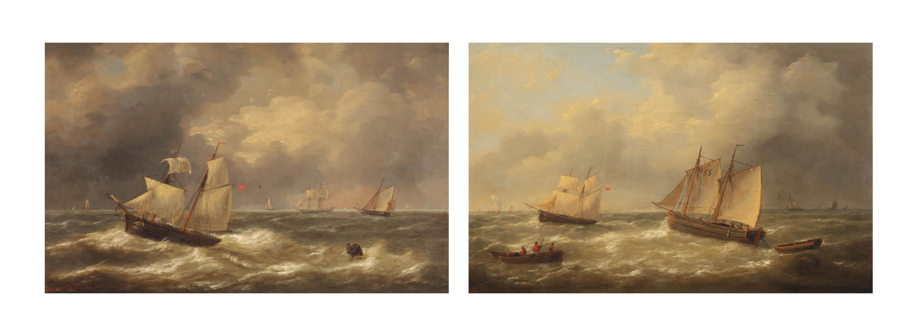 Shipping in choppy seas; and Sailing vessels at sea with other boats beyond
