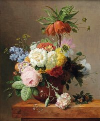 Red fritillaries, peonies, convolvulus, coleseed, red hydrangeas, lilacs, carnations and other flowers in a terracotta, together with violets on a marble ledge