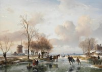 Skaters on a frozen waterway on a sunny wintersday, a cottage and windmills on the riverbank