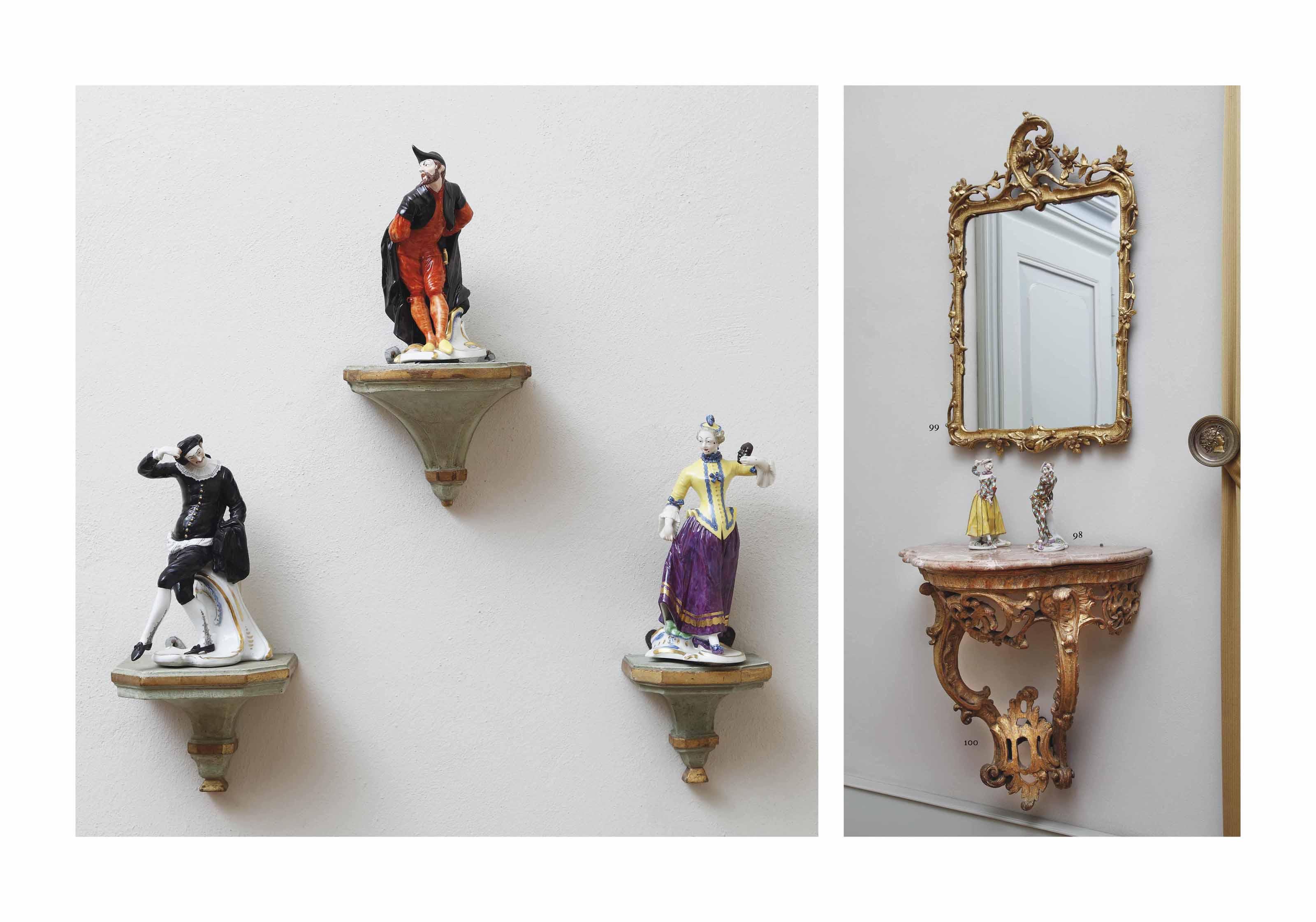 Five Nymphenburg Commedia dell'Arte figures