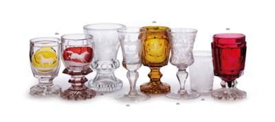 Four various Bohemian glass go
