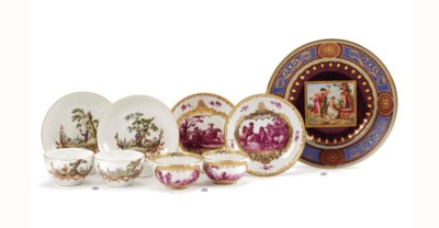 Two pairs of Meissen cups and