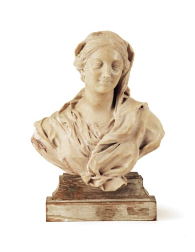 A CARVED ALABASTER BUST OF THE