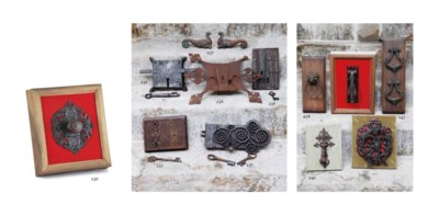 A wrought iron door-knocker