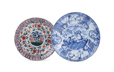 Two Dutch Delft dishes