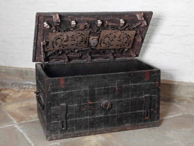 A German wrought iron chest