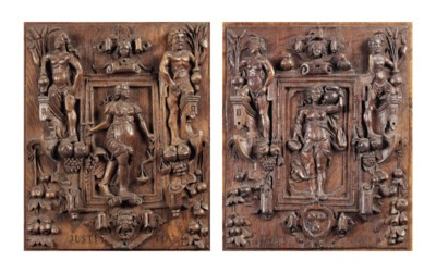 A PAIR OF CARVED OAK RELIEFS