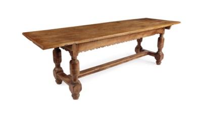A GERMAN OAK REFECTORY TABLE