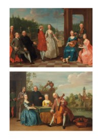 A portrait of Jacques-Jean Cremers (1736-after 1803) and his wife, dancing, on a garden terrace surrounded by other members of the family playing music; and An elegant company traditionally identified as the wedding of Jacob Johannes Cremers (+ 1786), all seated and making music on a terrace, a village and lake in the distance