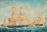 The Hendrika Bartina and the Johanna Hendrika sailing near the shore