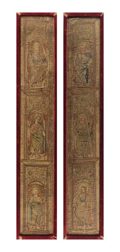A PAIR OF SILK AND METAL THREA
