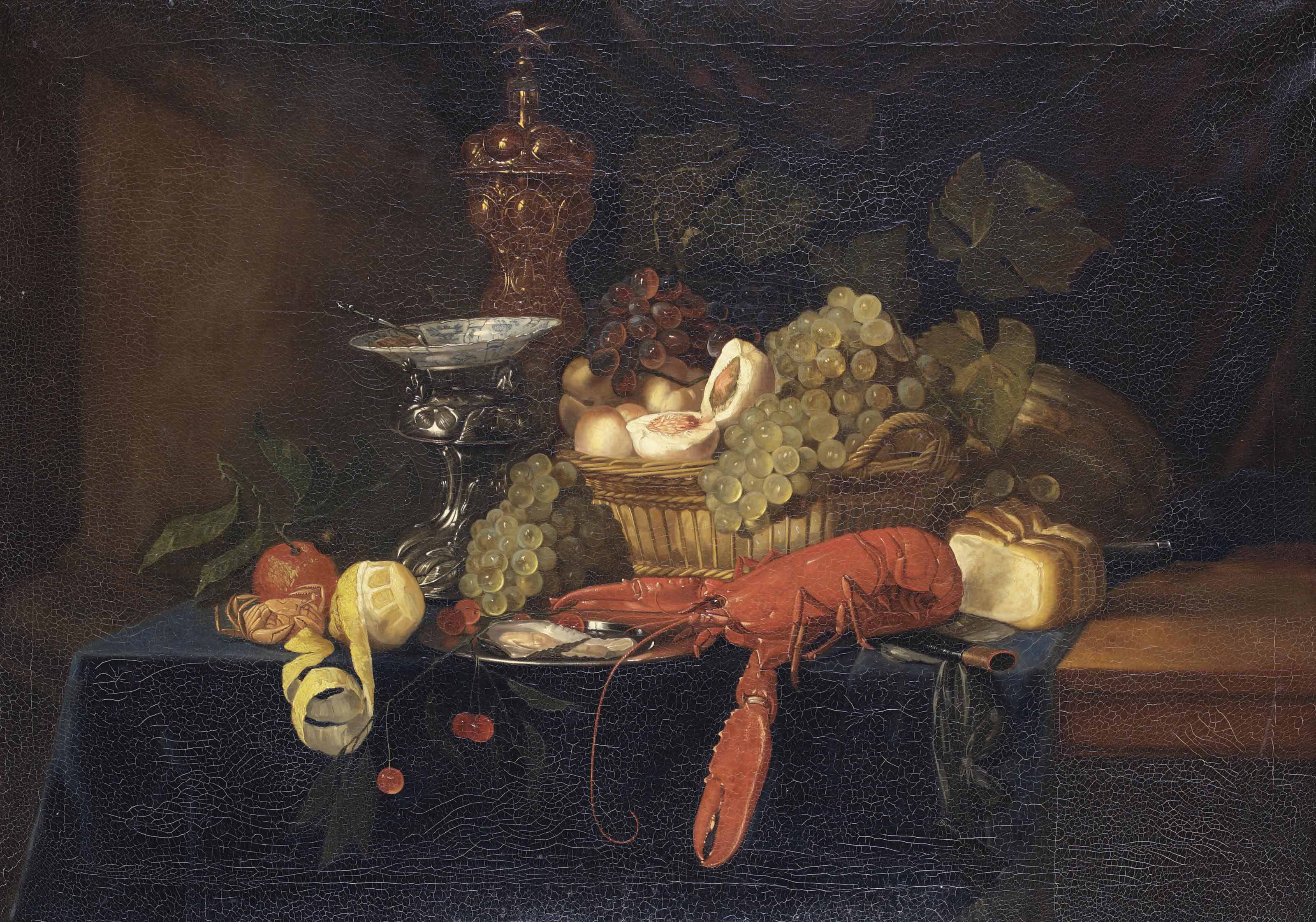 An orange, a lemon, grapes, a silver standard with a porcelain plate, a golden cup, oysters on a pewter plate, a lobster, a fruit basket, bread, a knife, all on a partially draped wooden table
