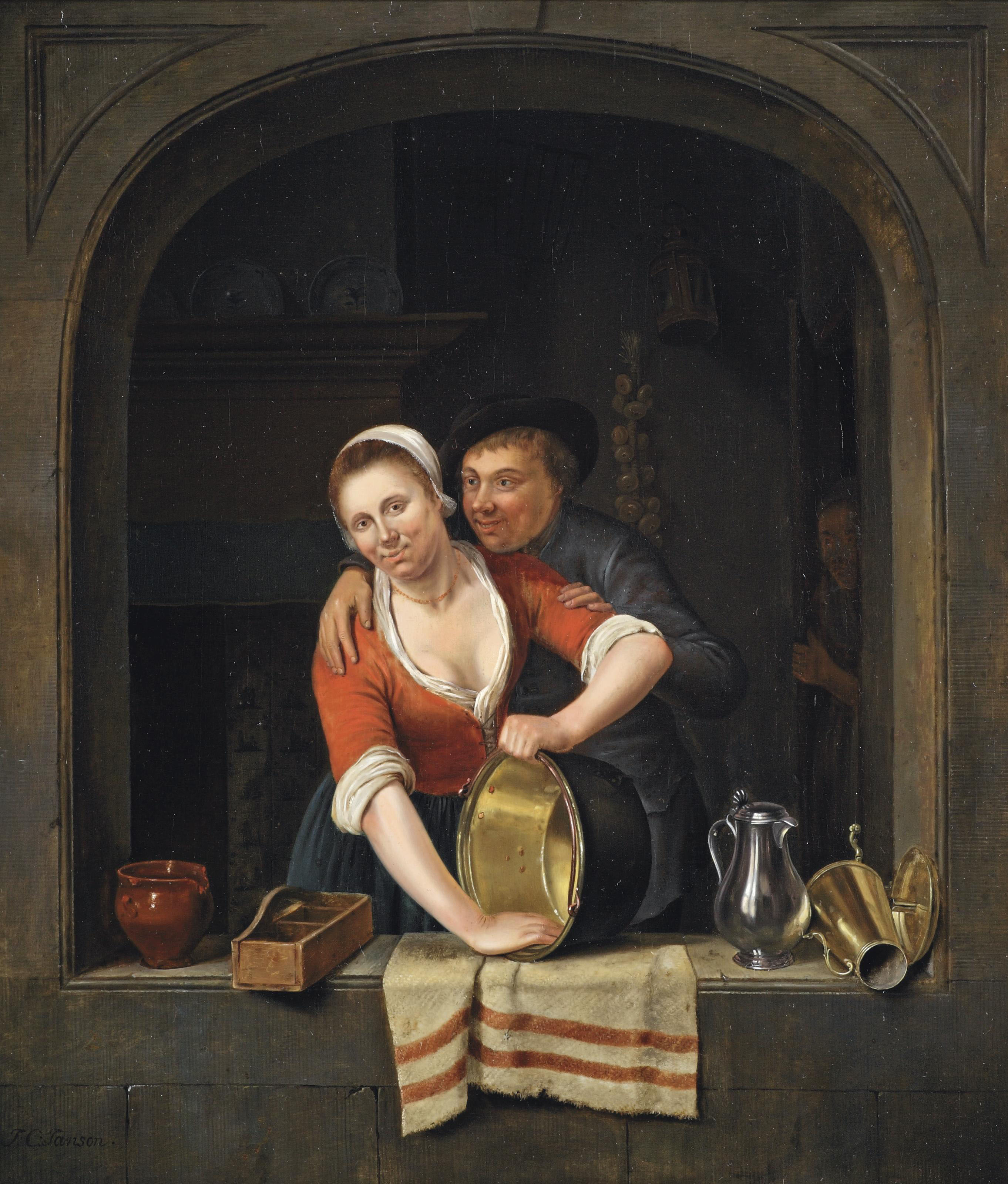 An amorous couple in a window with earthenware, a pan and metal decanters, a kitchen interior with a figure behind a door beyond