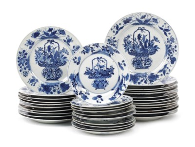 Three sets of Chinese blue and