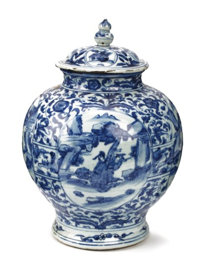 A Chinese late Ming blue and w